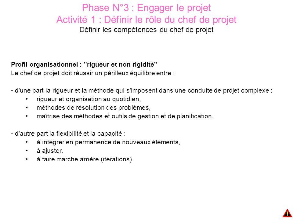 Phase N°3 : Engager le projet Activité 3 : Organiser le travail de l'équipe Il s'agit de définir : Les responsabilités de chacun Les principes de communication interne et externe interne (entre les membres de l'équipe, avec le reste de l'organisation) externe (avec les clients, les sous traitants, les fournisseurs…) Les modes d'élaboration des décisions Les méthodes de travail les réunions (type et périodicité) la documentation (type, émission, approbation, diffusion)