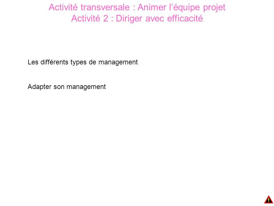 Activité transversale : Animer l'équipe projet Activité 2 : Diriger avec efficacité Les différents types de management Adapter son management