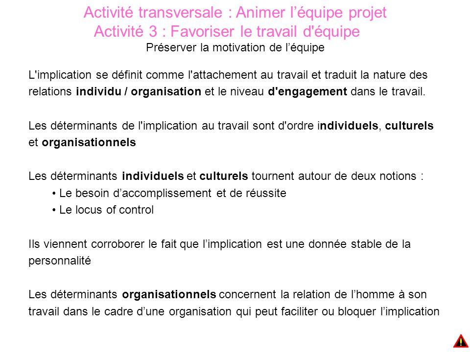 Activité transversale : Animer l'équipe projet Activité 3 : Favoriser le travail d équipe Préserver la motivation de l'équipe L implication se définit comme l attachement au travail et traduit la nature des relations individu / organisation et le niveau d engagement dans le travail.
