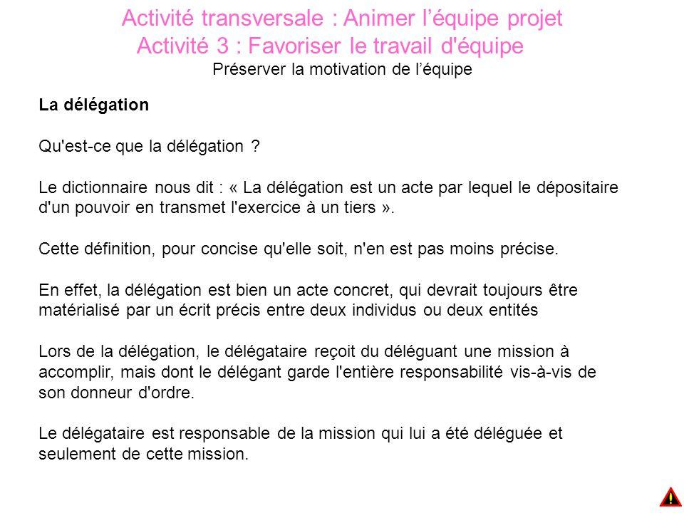 Activité transversale : Animer l'équipe projet Activité 3 : Favoriser le travail d équipe Préserver la motivation de l'équipe La délégation Qu est-ce que la délégation .