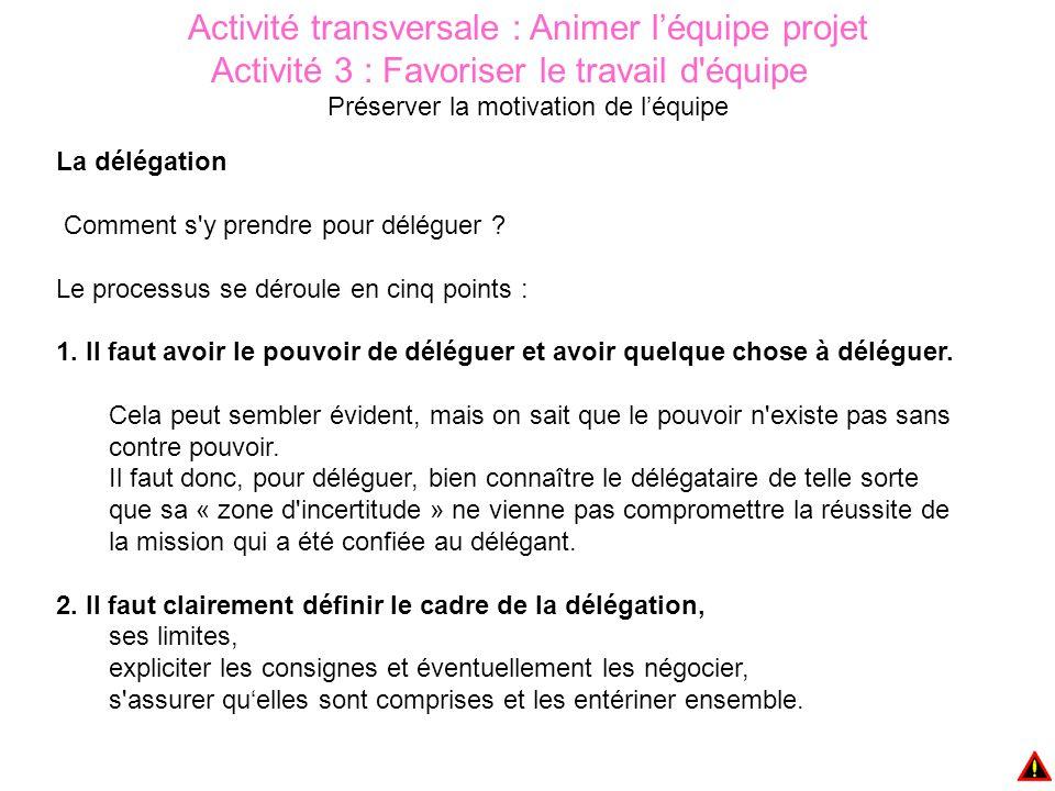 Activité transversale : Animer l'équipe projet Activité 3 : Favoriser le travail d équipe Préserver la motivation de l'équipe La délégation Comment s y prendre pour déléguer .