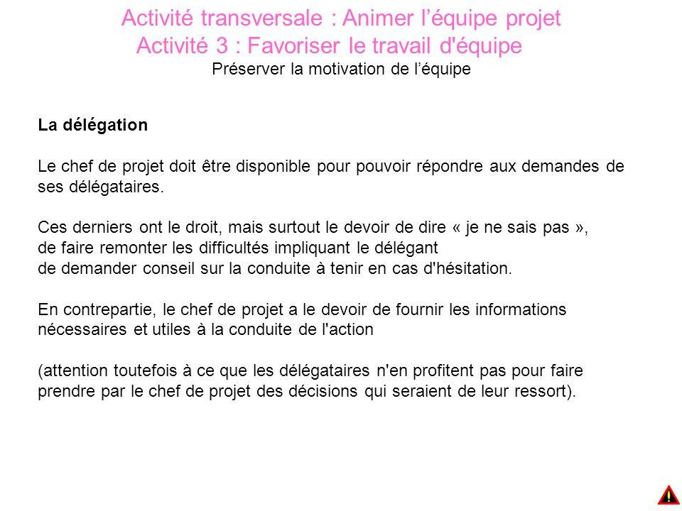 Activité transversale : Animer l'équipe projet Activité 3 : Favoriser le travail d équipe Préserver la motivation de l'équipe La délégation Le chef de projet doit être disponible pour pouvoir répondre aux demandes de ses délégataires.