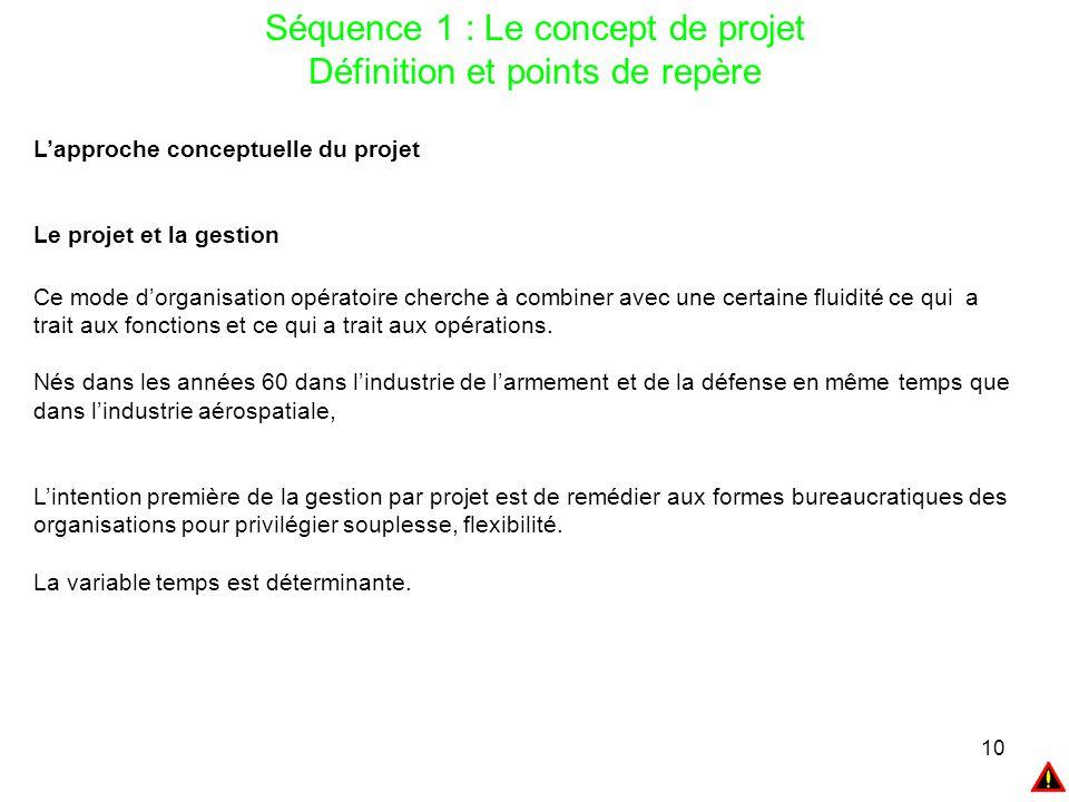 10 Séquence 1 : Le concept de projet Définition et points de repère L'approche conceptuelle du projet Le projet et la gestion Ce mode d'organisation o