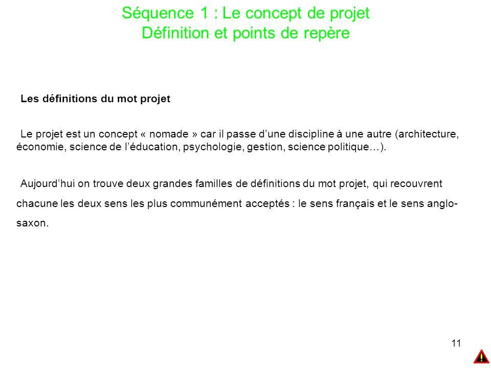 11 Séquence 1 : Le concept de projet Définition et points de repère Les définitions du mot projet Le projet est un concept « nomade » car il passe d'u