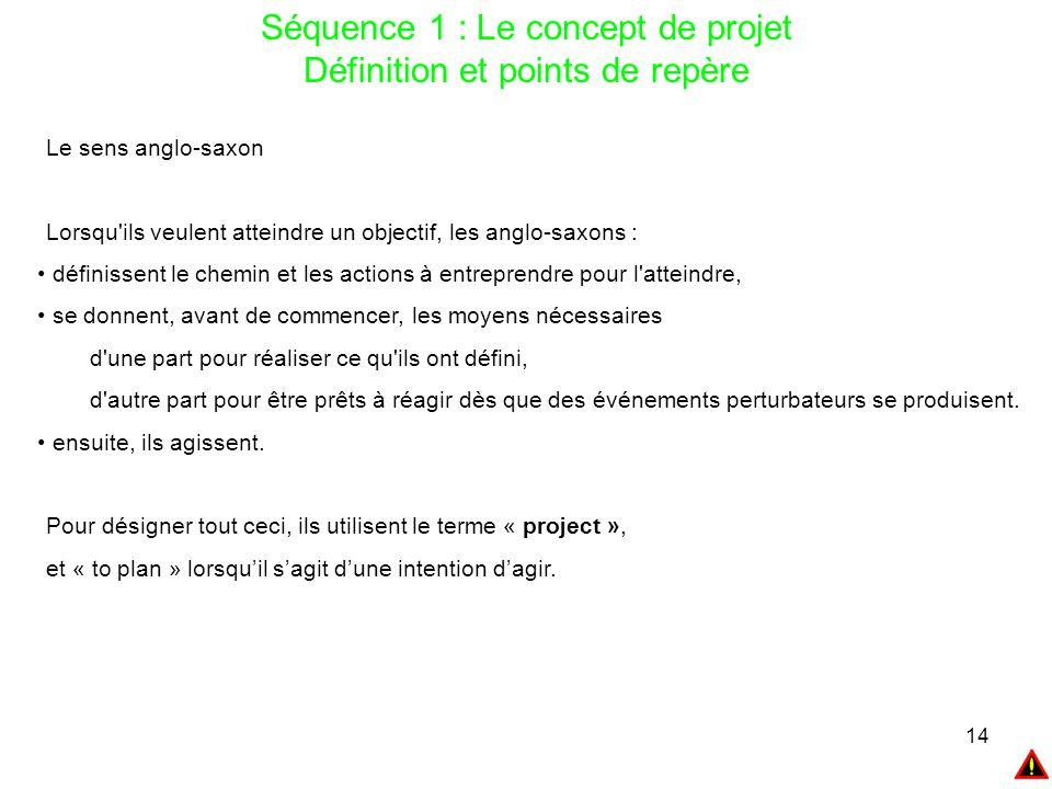 14 Séquence 1 : Le concept de projet Définition et points de repère Le sens anglo-saxon Lorsqu'ils veulent atteindre un objectif, les anglo-saxons : d