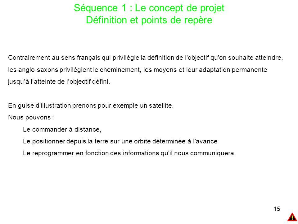 15 Séquence 1 : Le concept de projet Définition et points de repère Contrairement au sens français qui privilégie la définition de l'objectif qu'on so
