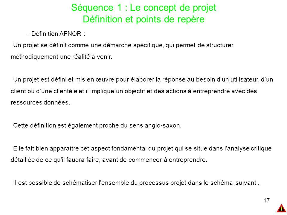 17 Séquence 1 : Le concept de projet Définition et points de repère - Définition AFNOR : Un projet se définit comme une démarche spécifique, qui perme