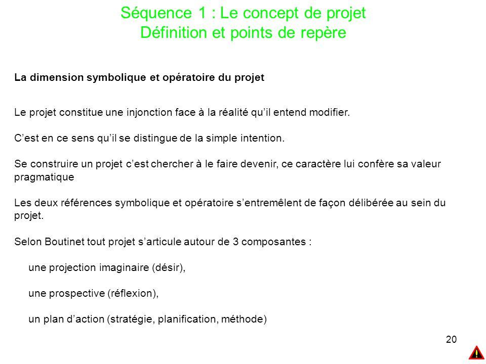 20 Séquence 1 : Le concept de projet Définition et points de repère La dimension symbolique et opératoire du projet Le projet constitue une injonction