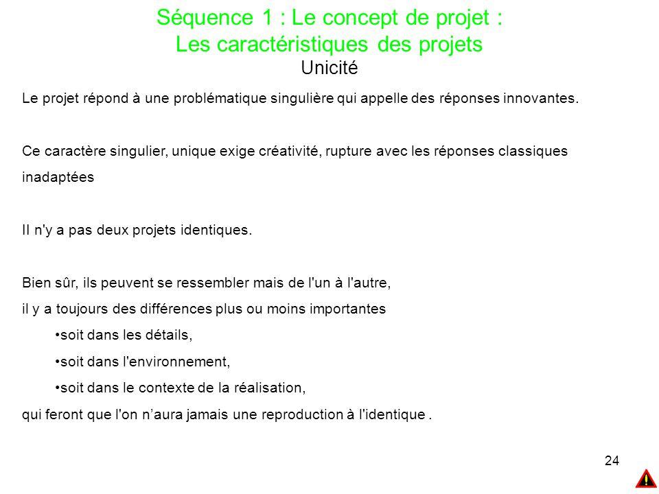 24 Séquence 1 : Le concept de projet : Les caractéristiques des projets Unicité Le projet répond à une problématique singulière qui appelle des répons