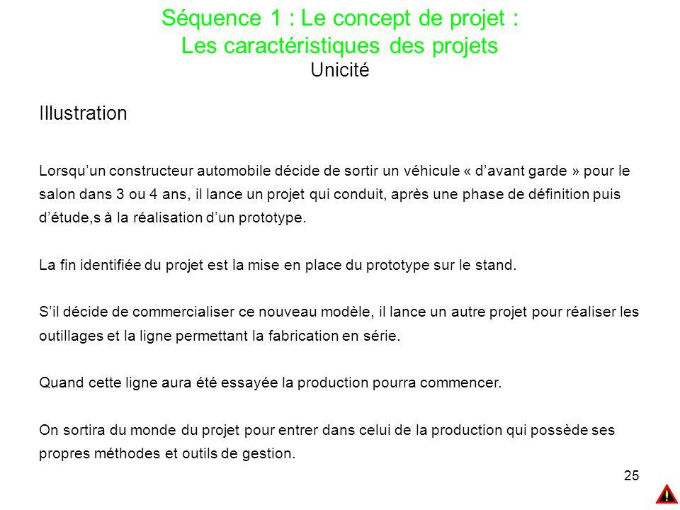 25 Séquence 1 : Le concept de projet : Les caractéristiques des projets Unicité Illustration Lorsqu'un constructeur automobile décide de sortir un véh