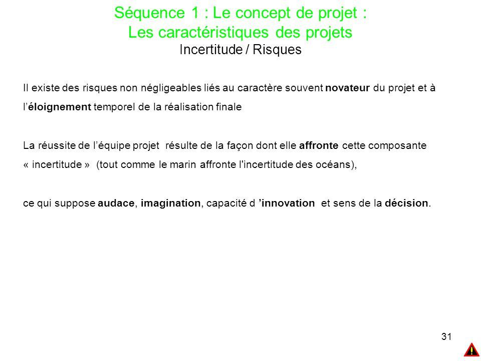 31 Séquence 1 : Le concept de projet : Les caractéristiques des projets Incertitude / Risques Il existe des risques non négligeables liés au caractère