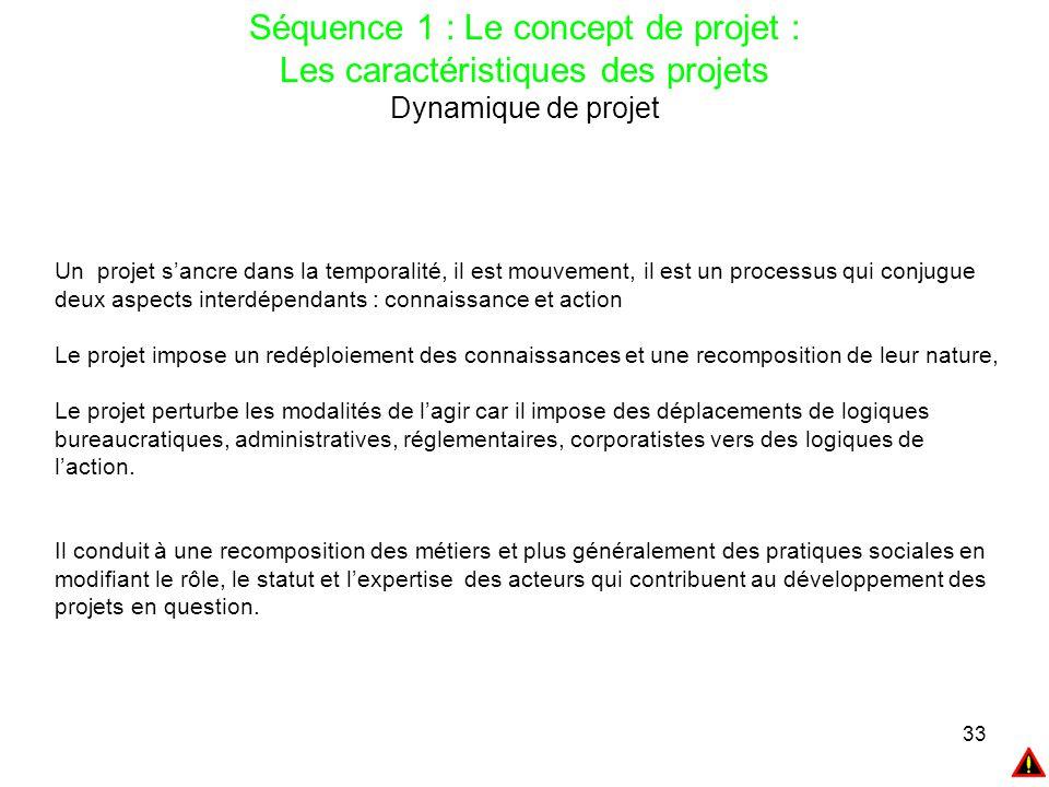 33 Séquence 1 : Le concept de projet : Les caractéristiques des projets Dynamique de projet Un projet s'ancre dans la temporalité, il est mouvement, i