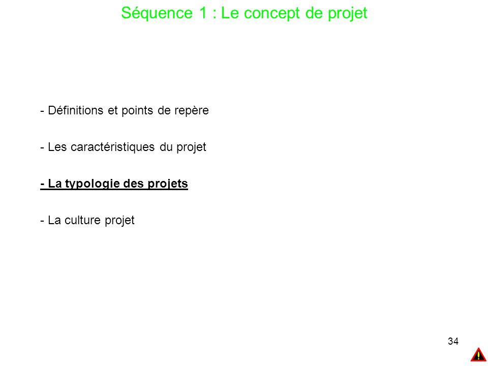 34 Séquence 1 : Le concept de projet - Définitions et points de repère - Les caractéristiques du projet - La typologie des projets - La culture projet