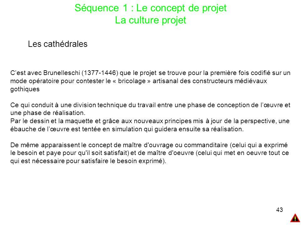 43 Séquence 1 : Le concept de projet La culture projet Les cathédrales C'est avec Brunelleschi (1377-1446) que le projet se trouve pour la première fo