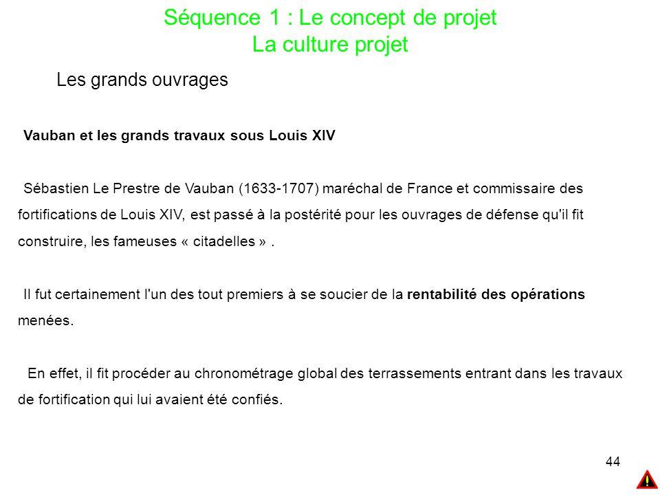 44 Séquence 1 : Le concept de projet La culture projet Les grands ouvrages Vauban et les grands travaux sous Louis XIV Sébastien Le Prestre de Vauban