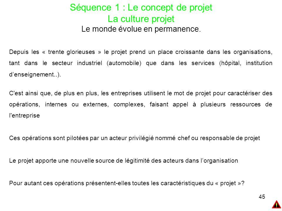 45 Séquence 1 : Le concept de projet La culture projet Le monde évolue en permanence. Depuis les « trente glorieuses » le projet prend un place croiss