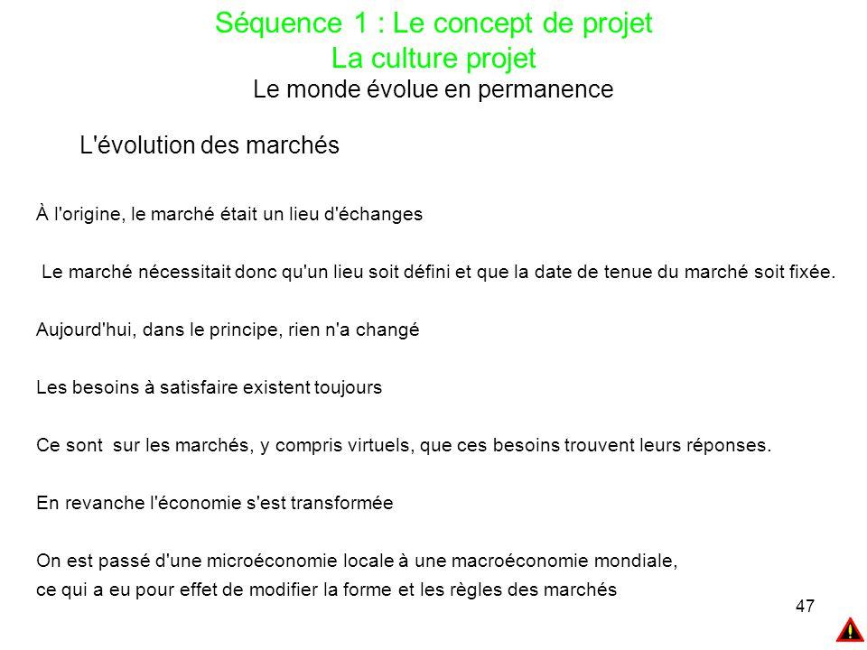 47 Séquence 1 : Le concept de projet La culture projet Le monde évolue en permanence L'évolution des marchés À l'origine, le marché était un lieu d'éc