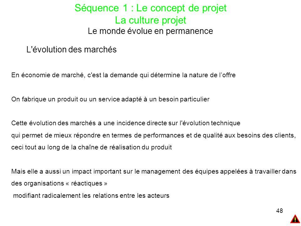 48 Séquence 1 : Le concept de projet La culture projet Le monde évolue en permanence L'évolution des marchés En économie de marché, c'est la demande q