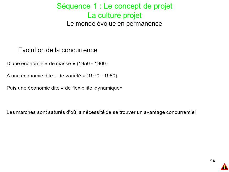 49 Séquence 1 : Le concept de projet La culture projet Le monde évolue en permanence Evolution de la concurrence D'une économie « de masse » (1950 - 1