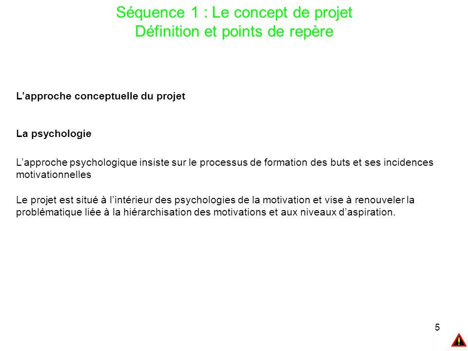 5 Séquence 1 : Le concept de projet Définition et points de repère L'approche conceptuelle du projet La psychologie L'approche psychologique insiste s