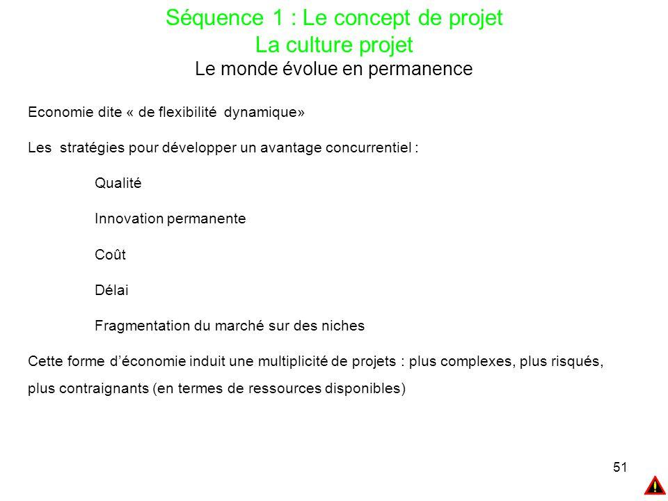 51 Séquence 1 : Le concept de projet La culture projet Le monde évolue en permanence Economie dite « de flexibilité dynamique» Les stratégies pour dév