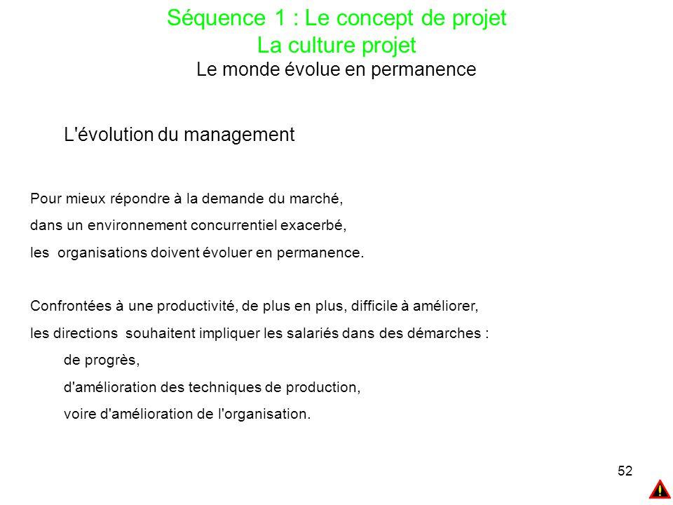 52 Séquence 1 : Le concept de projet La culture projet Le monde évolue en permanence L'évolution du management Pour mieux répondre à la demande du mar