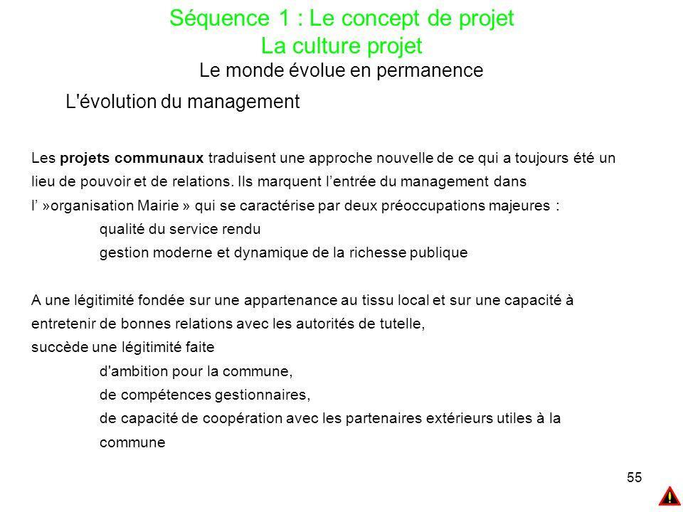 55 Séquence 1 : Le concept de projet La culture projet Le monde évolue en permanence L'évolution du management Les projets communaux traduisent une ap