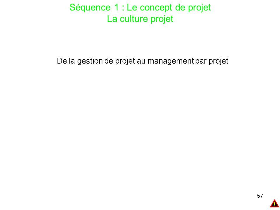 57 Séquence 1 : Le concept de projet La culture projet De la gestion de projet au management par projet