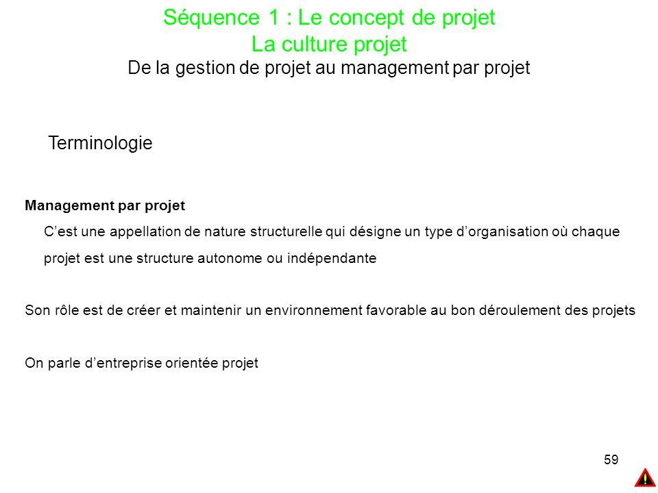59 Séquence 1 : Le concept de projet La culture projet De la gestion de projet au management par projet Terminologie Management par projet C'est une a