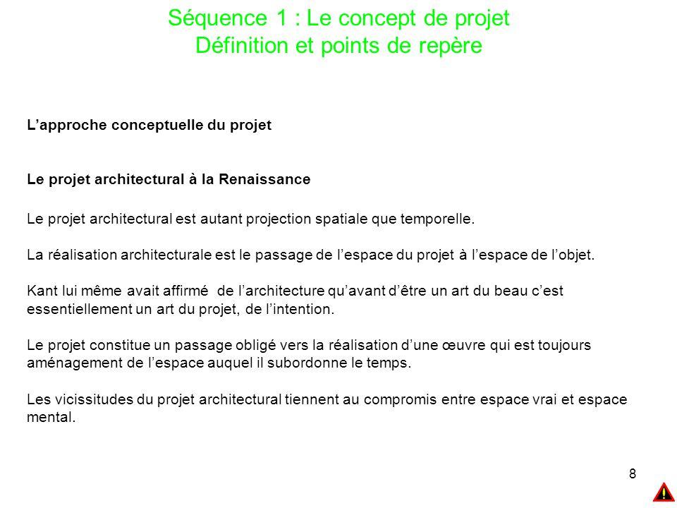 8 Séquence 1 : Le concept de projet Définition et points de repère L'approche conceptuelle du projet Le projet architectural à la Renaissance Le proje