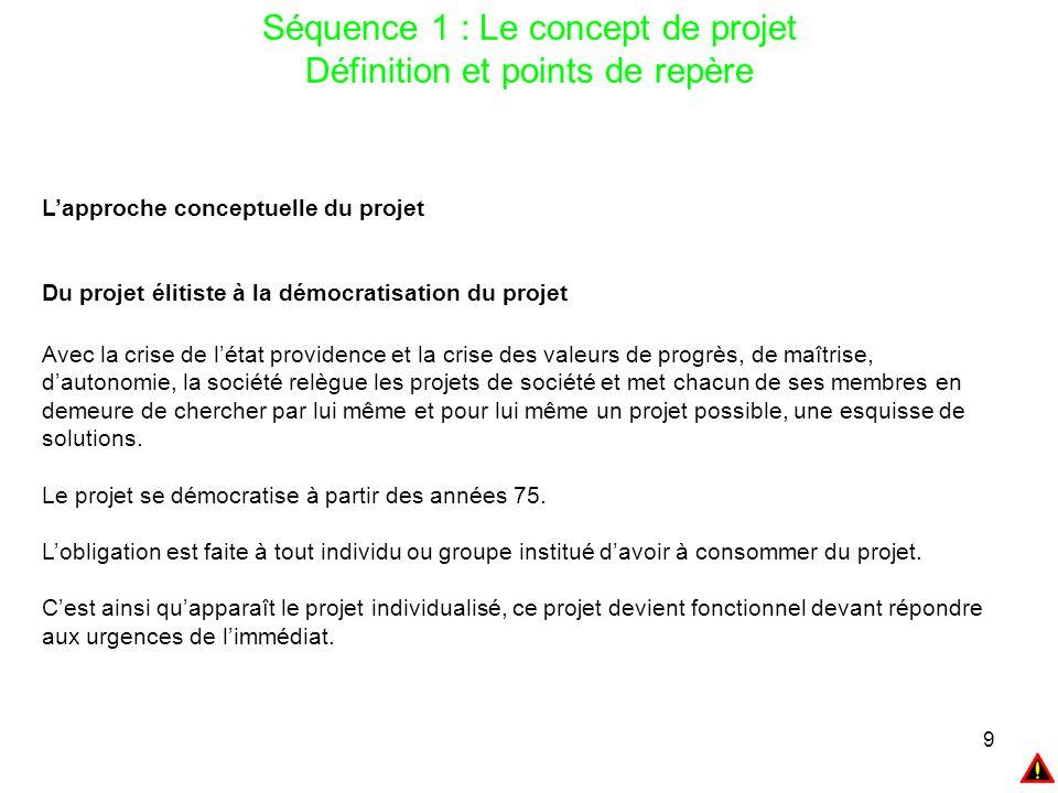 9 Séquence 1 : Le concept de projet Définition et points de repère L'approche conceptuelle du projet Du projet élitiste à la démocratisation du projet