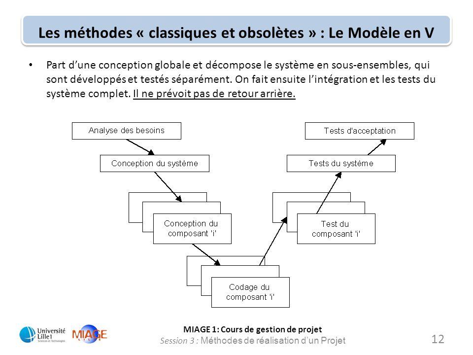 MIAGE 1: Cours de gestion de projet Session 3 : Méthodes de réalisation d'un Projet Les méthodes « classiques et obsolètes » : Le Modèle en V Part d'u