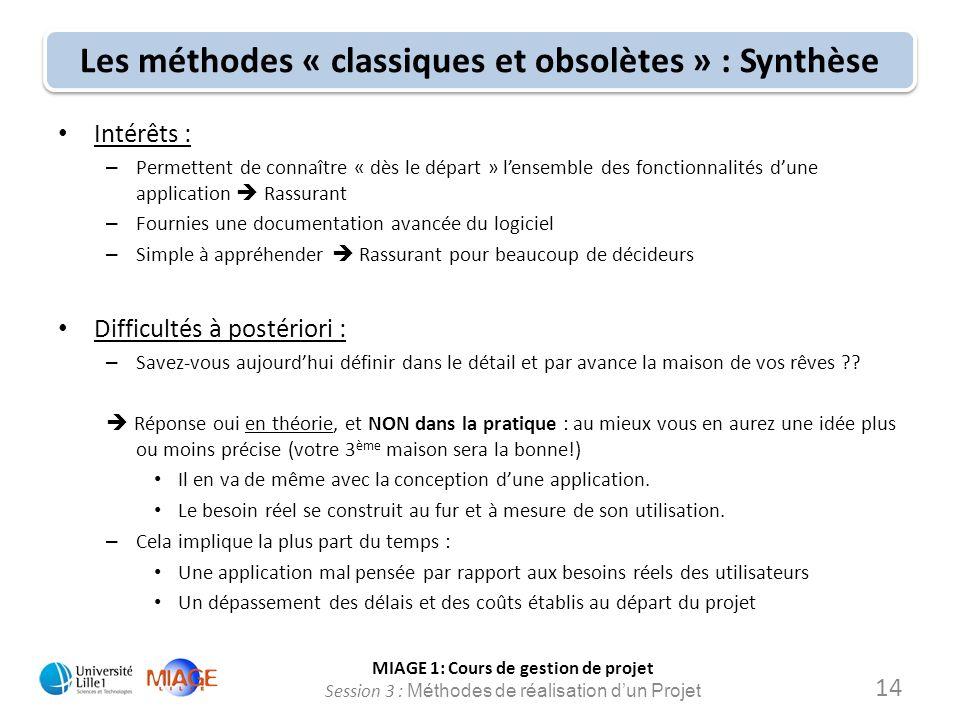 MIAGE 1: Cours de gestion de projet Session 3 : Méthodes de réalisation d'un Projet Les méthodes « classiques et obsolètes » : Synthèse Intérêts : – P