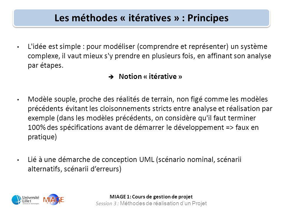 MIAGE 1: Cours de gestion de projet Session 3 : Méthodes de réalisation d'un Projet L'idée est simple : pour modéliser (comprendre et représenter) un