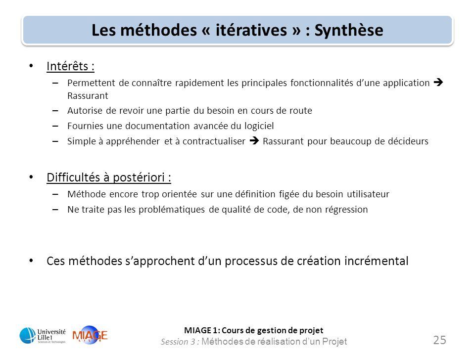 MIAGE 1: Cours de gestion de projet Session 3 : Méthodes de réalisation d'un Projet Les méthodes « itératives » : Synthèse Intérêts : – Permettent de