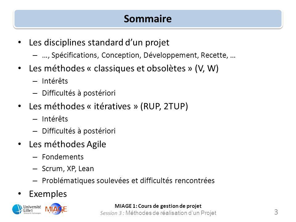 MIAGE 1: Cours de gestion de projet Session 3 : Méthodes de réalisation d'un Projet Sommaire Les disciplines standard d'un projet – …, Spécifications,