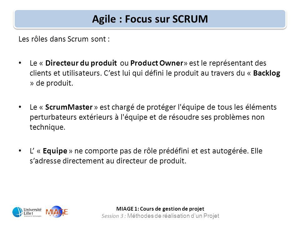 MIAGE 1: Cours de gestion de projet Session 3 : Méthodes de réalisation d'un Projet Agile : Focus sur SCRUM Les rôles dans Scrum sont : Le « Directeur