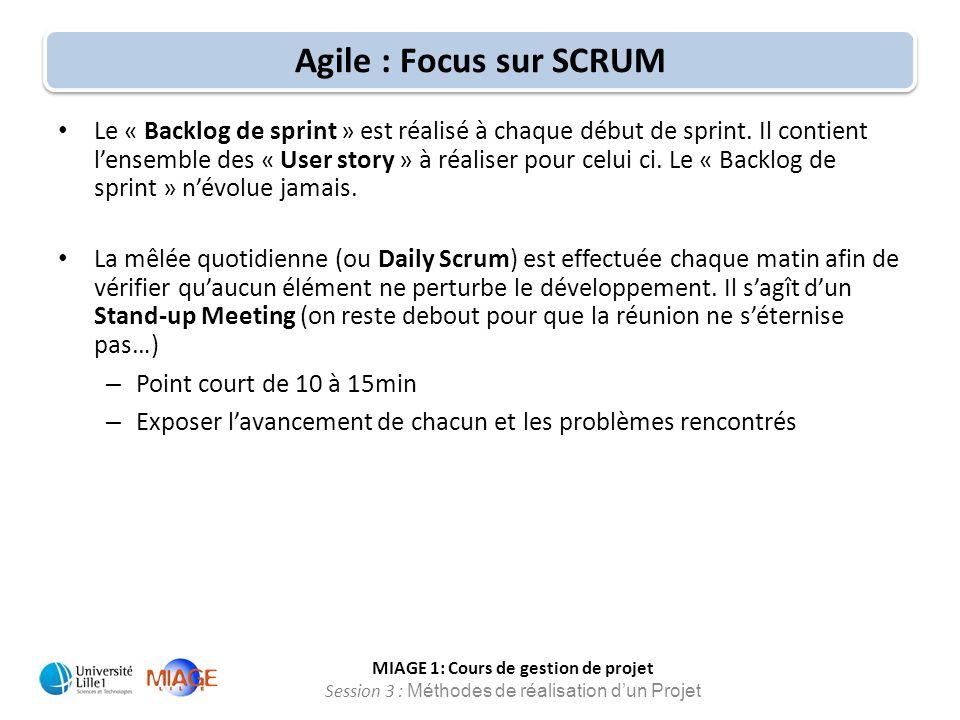 MIAGE 1: Cours de gestion de projet Session 3 : Méthodes de réalisation d'un Projet Agile : Focus sur SCRUM Le « Backlog de sprint » est réalisé à cha
