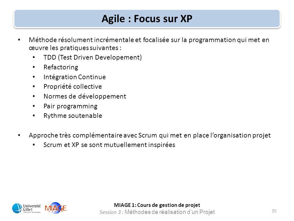 MIAGE 1: Cours de gestion de projet Session 3 : Méthodes de réalisation d'un Projet 35 Agile : Focus sur XP Méthode résolument incrémentale et focalis