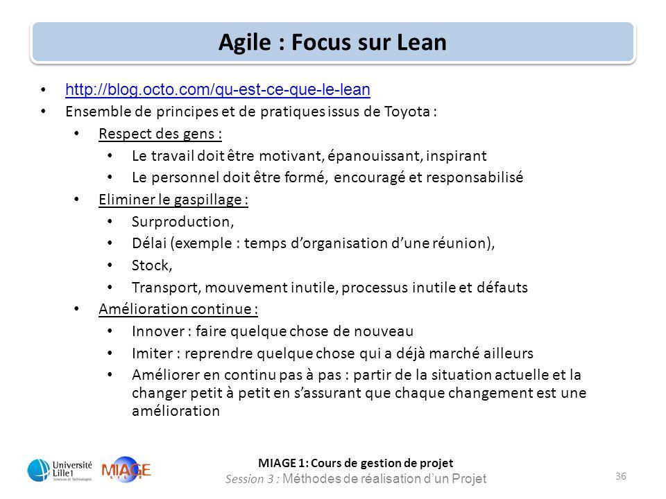 MIAGE 1: Cours de gestion de projet Session 3 : Méthodes de réalisation d'un Projet 36 Agile : Focus sur Lean http://blog.octo.com/qu-est-ce-que-le-le