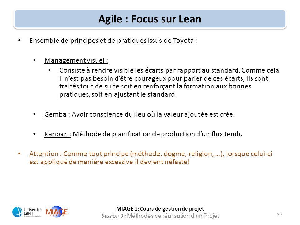 MIAGE 1: Cours de gestion de projet Session 3 : Méthodes de réalisation d'un Projet 37 Agile : Focus sur Lean Ensemble de principes et de pratiques is