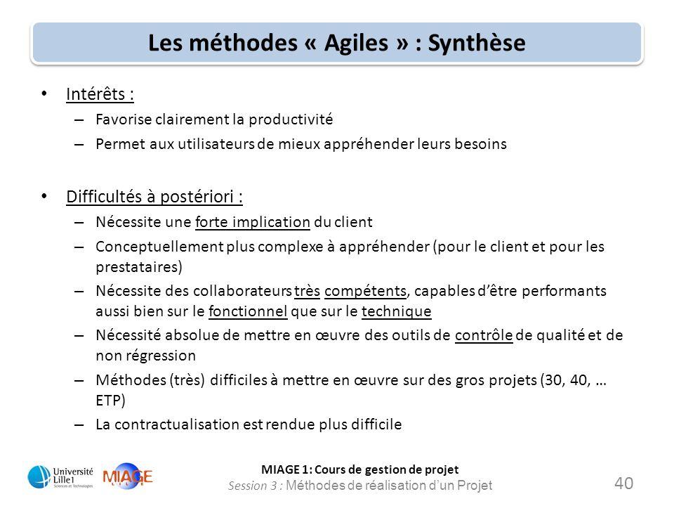 MIAGE 1: Cours de gestion de projet Session 3 : Méthodes de réalisation d'un Projet Les méthodes « Agiles » : Synthèse Intérêts : – Favorise clairemen
