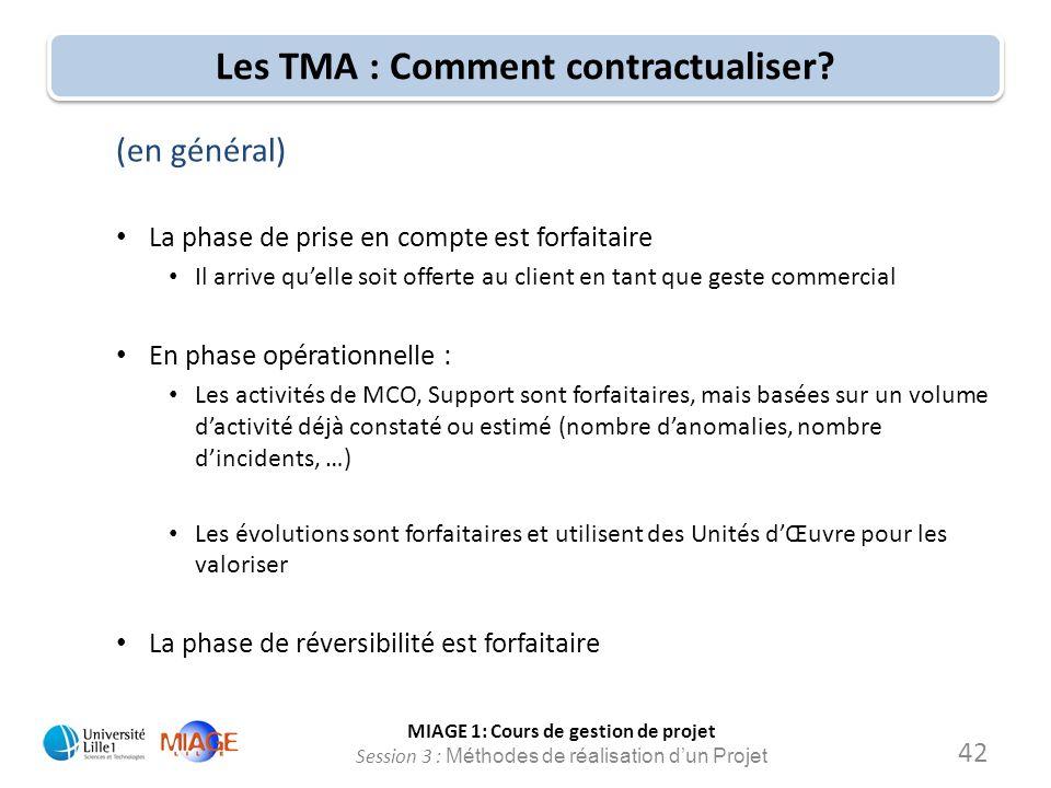 MIAGE 1: Cours de gestion de projet Session 3 : Méthodes de réalisation d'un Projet Les TMA : Comment contractualiser? (en général) La phase de prise