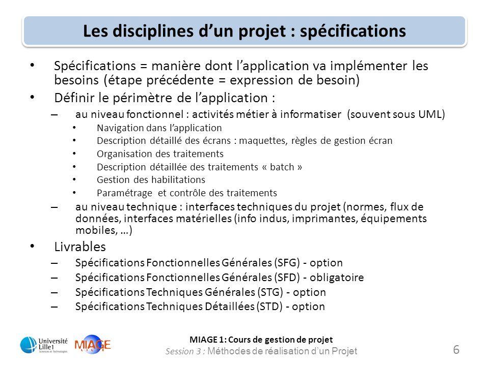 MIAGE 1: Cours de gestion de projet Session 3 : Méthodes de réalisation d'un Projet Les disciplines d'un projet : spécifications Spécifications = mani