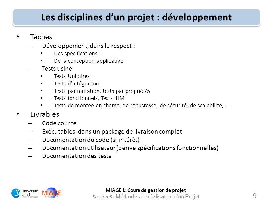 MIAGE 1: Cours de gestion de projet Session 3 : Méthodes de réalisation d'un Projet Les disciplines d'un projet : développement Tâches – Développement