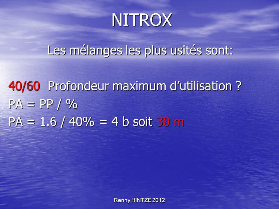 Renny HINTZE 2012 NITROX Les mélanges les plus usités sont: Les mélanges les plus usités sont: 40/60 Profondeur maximum d'utilisation ? PA = PP / % PA