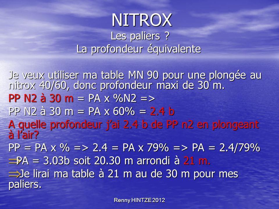 Renny HINTZE 2012 NITROX Les paliers ? Les paliers ? La profondeur équivalente Je veux utiliser ma table MN 90 pour une plongée au nitrox 40/60, donc