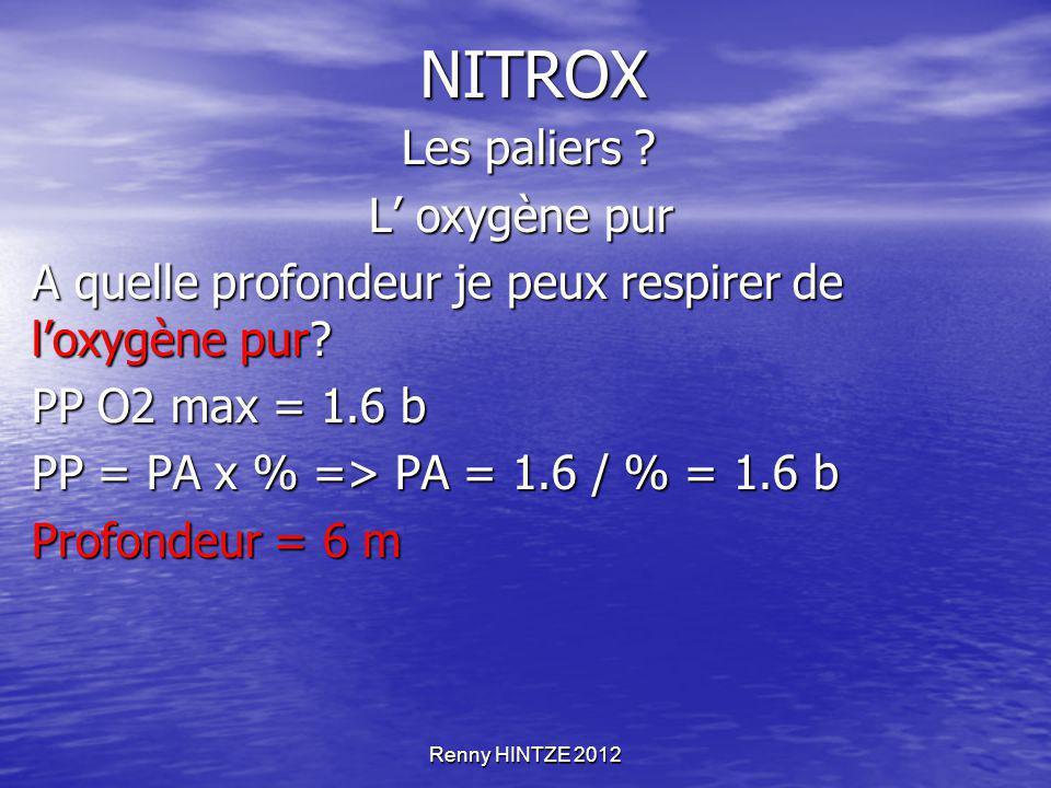 Renny HINTZE 2012 NITROX Les paliers ? Les paliers ? L' oxygène pur A quelle profondeur je peux respirer de l'oxygène pur? PP O2 max = 1.6 b PP = PA x