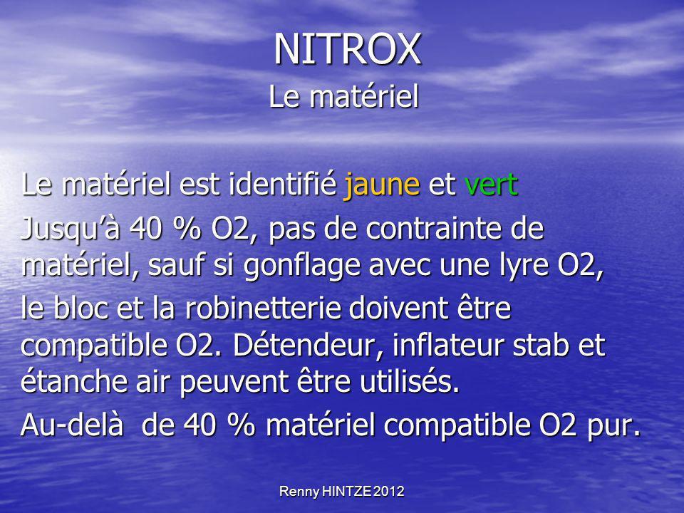 Renny HINTZE 2012 NITROX Le matériel Le matériel Le matériel est identifié jaune et vert Jusqu'à 40 % O2, pas de contrainte de matériel, sauf si gonfl