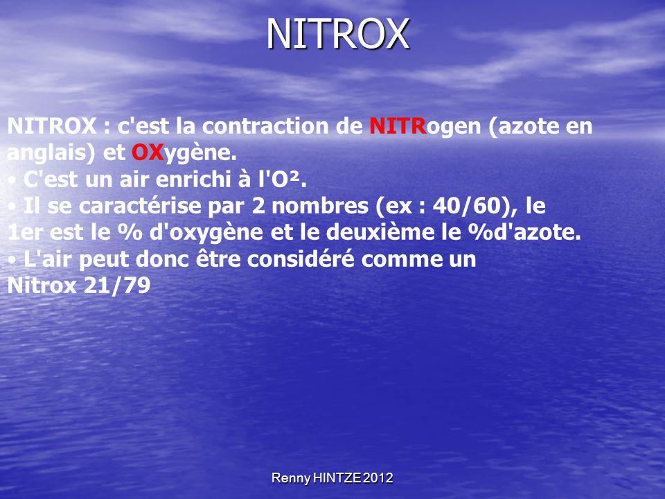 Renny HINTZE 2012 NITROX NITROX : c'est la contraction de NITRogen (azote en anglais) et OXygène. C'est un air enrichi à l'O². Il se caractérise par 2